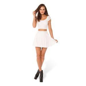Burned Velvet White Cheerleader Skirt